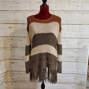 Entro Anthropologie loose knit sweater with fringe